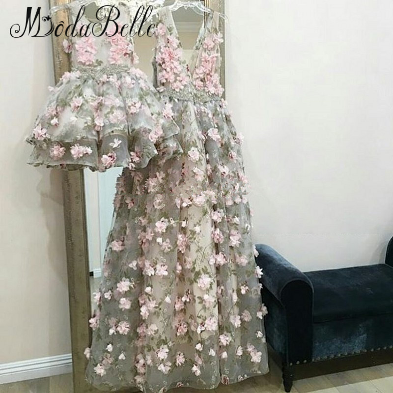 modabelle 3D Flowers   Evening     Dress   Robe De Soiree Dubai A-line 2019 Long Mother And Daughter Party   Dress   Formal Avondjurken