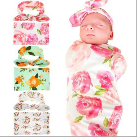 2017 New Sleeping Swaddle Blanket rabbit ear Headband Set Floral Print Hospital Swaddle Set turban Cocoon Photo Props Gift