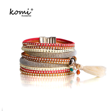 New Design Rhinestone Leather Round Buckle Wide Magnetic Buckle Bracelets & Bangles For Women Alloy Jewelry & Accessories MI-003