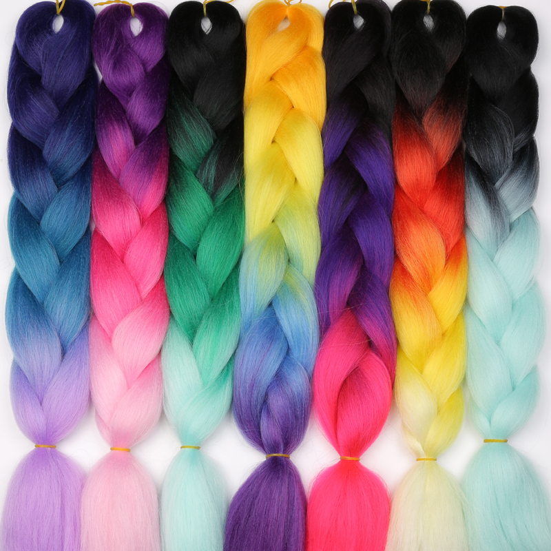 MISS WIG Ombre Kanekalon Braiding Hair Extensions 24inch 100g Jumbo Braids Synthetic Hair Fiber Pink Purple Blue Green 1pce ...