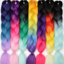 MISS WIG Ombre Kanekalon Braiding Hair Extensions 24inch 100g Jumbo Braids Synthetic Hair Fiber Pink Purple Blue Green 1pce(China)