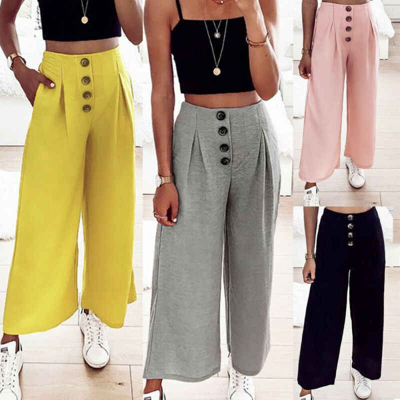 נשים Palazzo התלקח רחב רגל מכנסיים גבוהה מותן Loose מכנסי חצאית כפתור עיצוב ארוך מכנסיים רחבים קפלים לפרוע Capris Vestidos