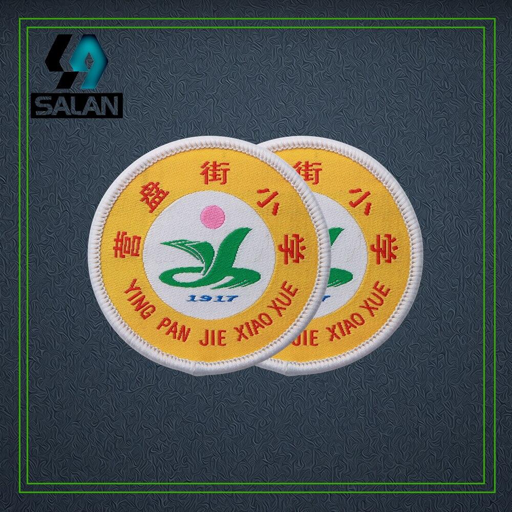 Fer personnalisé sur vêtements insignes tissés sur une épingle patchs brodés personnalisés pour sac à dos acrylique rosette couture tissu signe