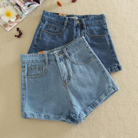 Shorts Vaqueros Clásicos Pantalones Cortos Para Las Señoras de Las Muchachas Azul Claro Azul Oscuro S M L