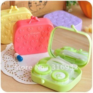 Free shipping walllet shaped cute contact lens case, 8 pieces/lot