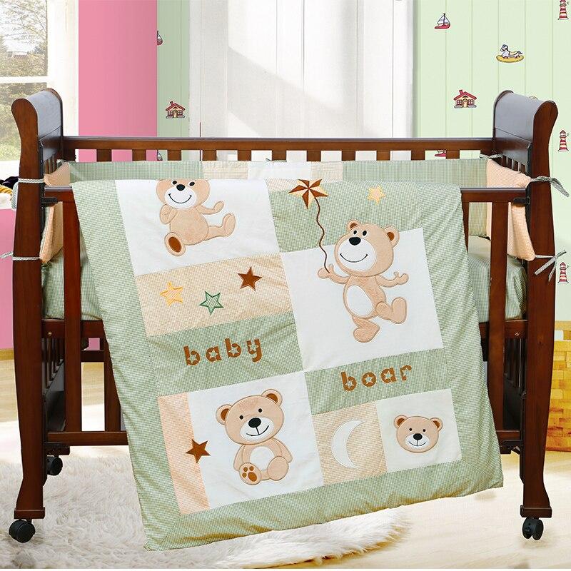 4PCS embroidered Bear baby crib bedding sets Cot Bumper Set ...