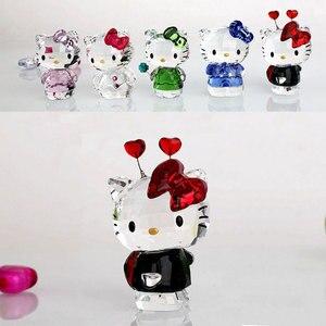 Image 5 - Figuritas de gatos de dibujos animados de cristal de alta calidad adorno de coche gato Aniaml pisapapeles regalo de boda Interior Multicolor, señora Favor regalo