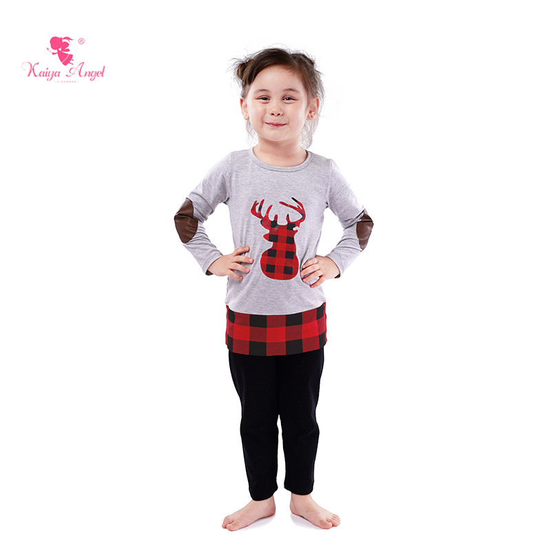 76b7c8476c81 Kaiya Angel Halloween Girls Boutique Outfits Deer-Head Tops + Black Cotton  Trousers Toddler Kids Clothing Set Factory Wholesale