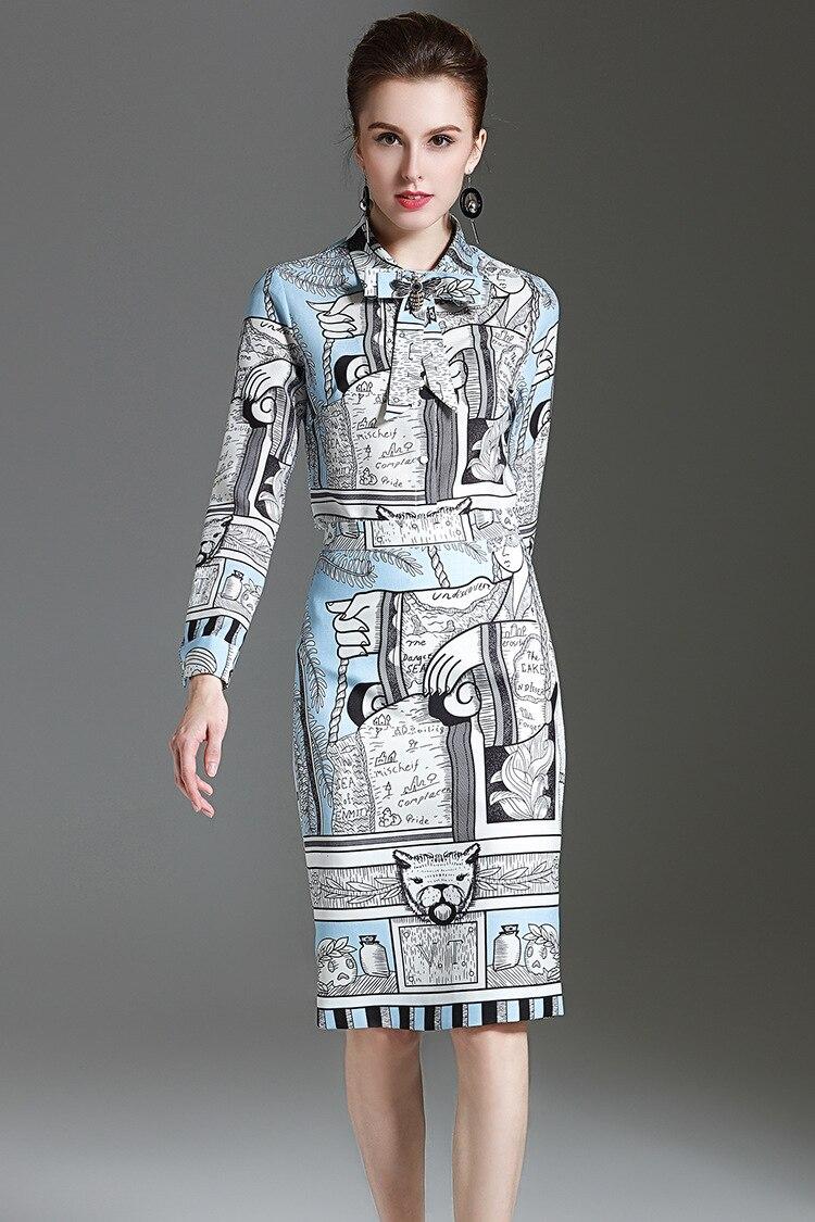 Femmes Crayon Pièce Mode Casual Ensemble Chemise Jupe Piste 2017 Longues Bureau 2 Imprimé Manches Bleu Imprimer Costume Vintage De D'été YTFwxIq