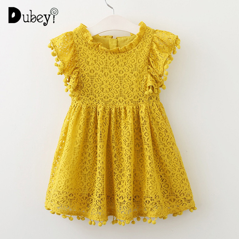 Us 1606 40 Offmustard Yellow Lace Dress Hollowed Tassel Fly Sleeves Toddler Girl Dress Elegant Kids Frocks Clothes For Little Girl In Dresses From