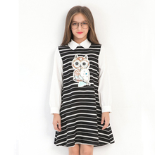 2018 Spring Girl Dress Long-sleeved Turn-down Collar Shirt Dresses Owl Cartoon Sequins Striped College Style Princess Vestidos new arrival simple style children s long sleeved shirt spring fall girl collar striped shirt girl blouse 5 10y