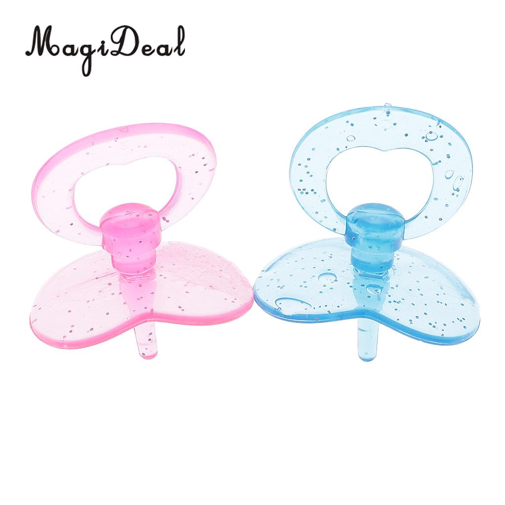 MagiDeal 2Pcs Baby Doll Sucking Plastic Pacifier for Dollhouse Nursery Room Acce Funny Play Mom Game Baby Born Toy Chrismas Gift 2pcs set mom