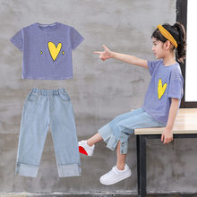 Kids Girls Summer Clothes Sets Heart Pattern Crop Tops TShirts + Striped Denim Short Jeans Clothing Set Girl Outfits 2PCS