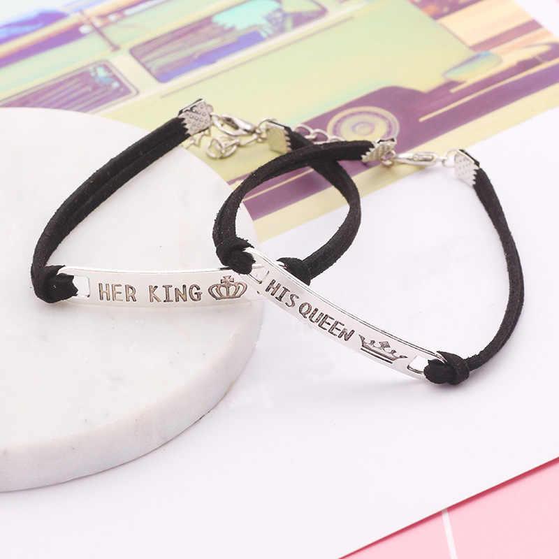 Letra su Reina su rey negro clásico de acero inoxidable par pulsera para los amantes San Valentín joyas accesorios regalos