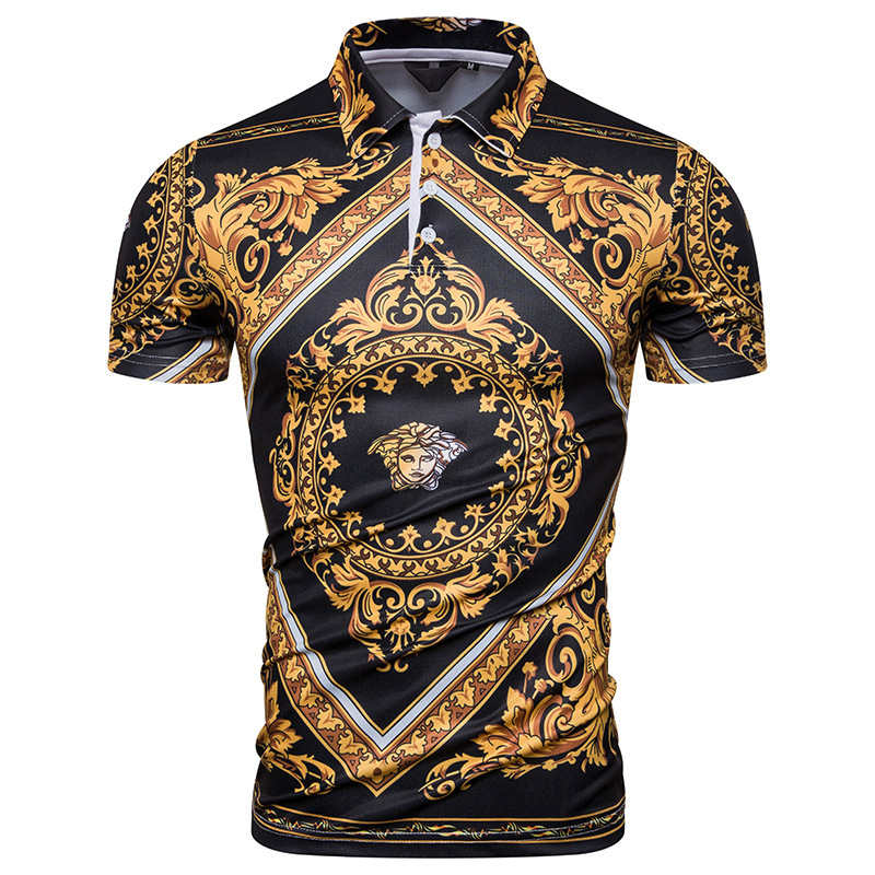 Mens Short Sleeve Fashion Luxury Design Print   Polo   Shirt Court totem