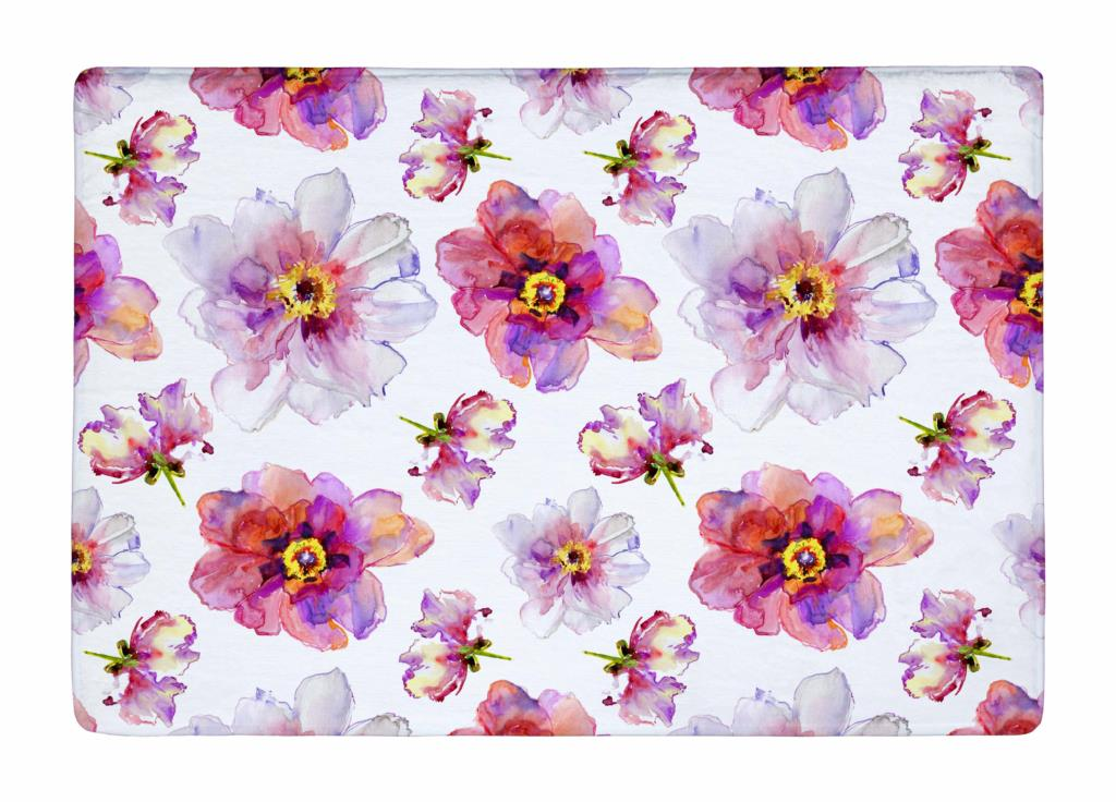 Floor Mat Watercolor Pink White Peony Flowers Print Non Slip Rugs Carpets  Alfombra For Indoor