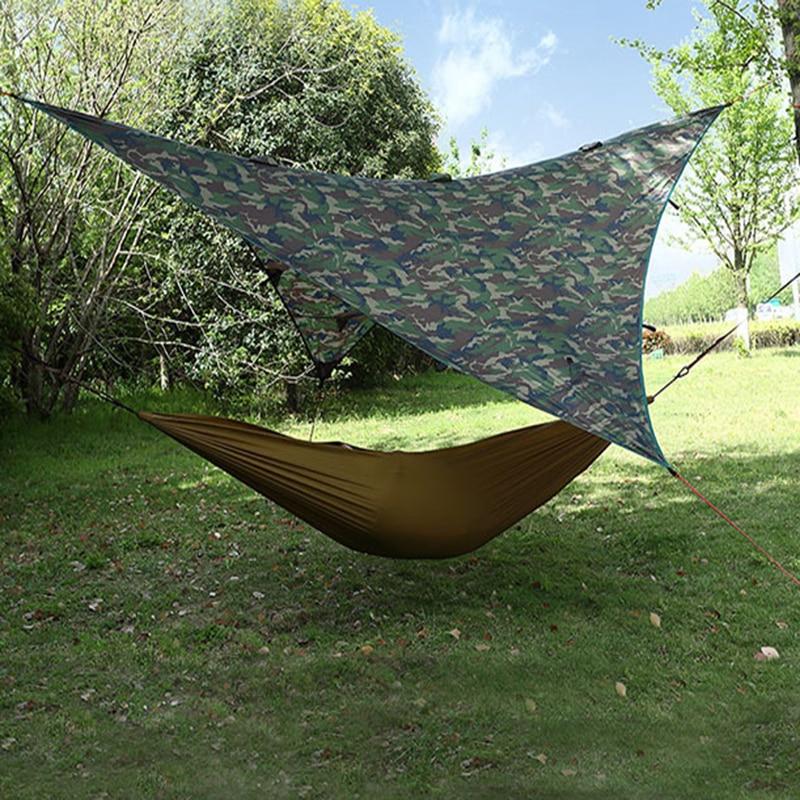 Camouflage voyage abri soleil tente bâche Anti UV plage tente ombre Camping en plein air hamac pluie mouche Camping parasol auvent auvent
