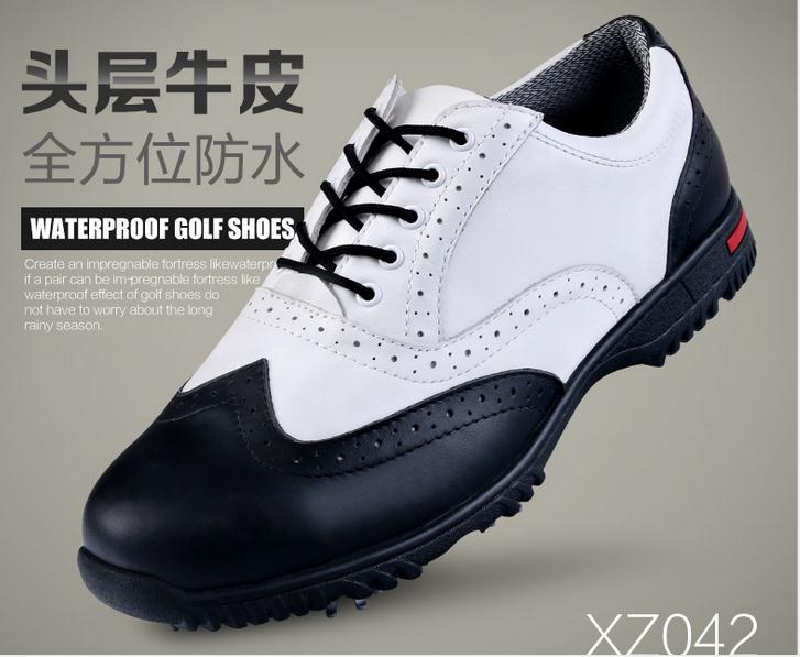 2015 genuine leather PGM golf shoes with spikers anti-slip removeable spiker mens golf shoes sneakers freeshipping simulation mini golf course display toy set with golf club ball flag