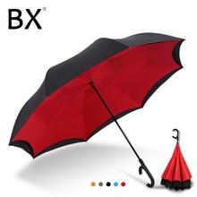 Bachon обратного Ветрозащитный зонтик большой зонт автоматическое закрытие двойной-слой перевернутый Зонт женский мужской автомобиль зонтик
