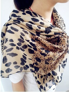 free shipping, Woman sought after worldwide Leopard print Scarf chiffon summe silk women's scarf