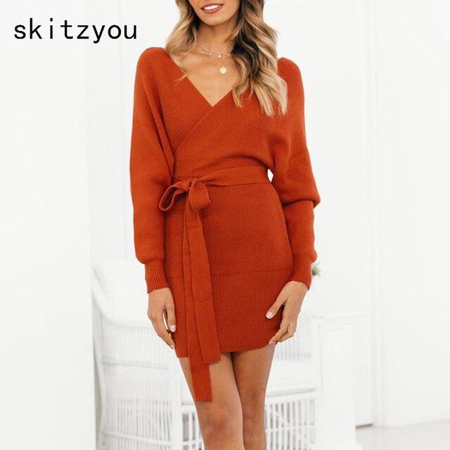 skitzyou Sexy V Neck Autumn Knitted Women Bodycon Dress Long Sleeve Autumn  Winter Casual Mini Club Party Sweater Dresses vestido b5026e02768e