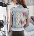 Free shipping CUTE Waistcoat Casual Turn-down Collar patchwork  Sleeveless Light Blue Denim Vest Jacket Jeans Women Coat