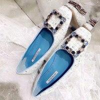 Женские туфли лодочки с квадратной кристаллической пряжкой, роскошная дизайнерская обувь из сетчатого материала с квадратным носком на вы