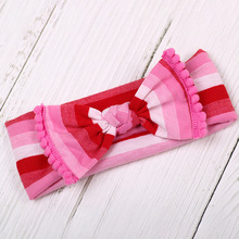 Girls Bow Cotton Headbands With Trimmed Knot, Hair Bows Hairband/Bowknot/Pompom Headband Kids Top Knot Pom