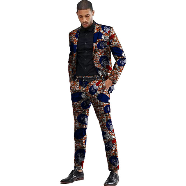 Africa Style Men Suits Dashiki Print Suit Jacket And Pant  5