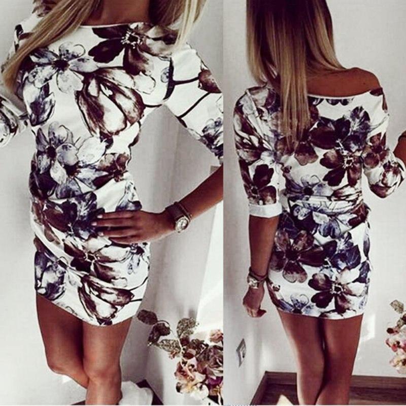 Summer Fashion Casual Women Bodycon Dress Half Sleeve Asymmetrical Neck Dress Sheath Dresses LE3