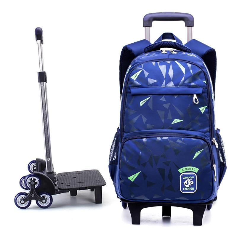 Grades 4-9 Kids Trolley Schoolbag Book Bags boys girls Backpack waterproof Removable Children School Bags With 2/6 Wheels Stairs crash bar mt 09