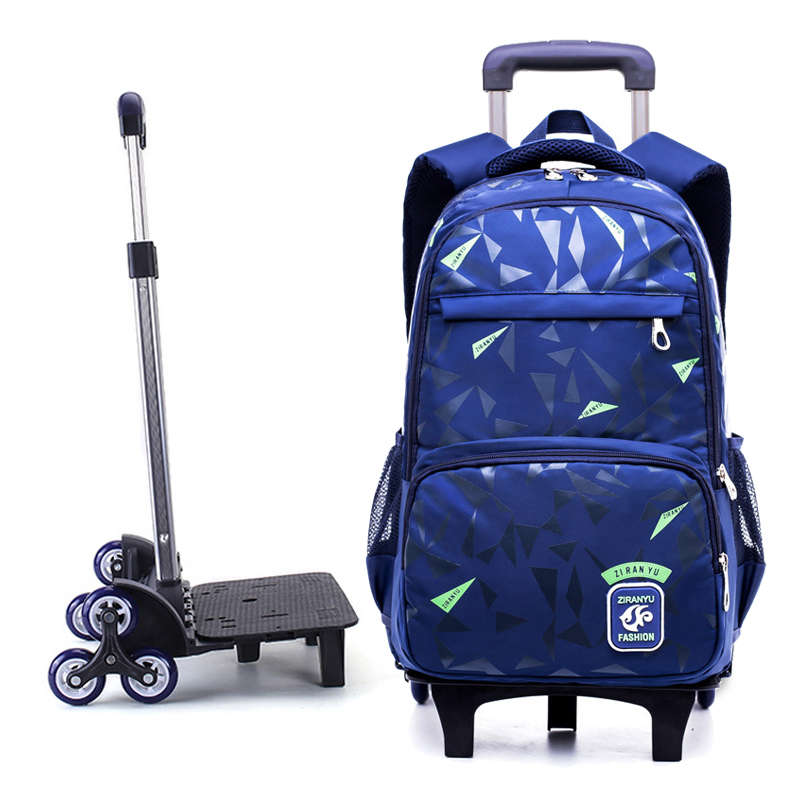 Grades 4-9 Kids Trolley Schoolbag Book Bags Boys Girls Backpack Waterproof Removable Children School Bags With 2/6 Wheels Stairs