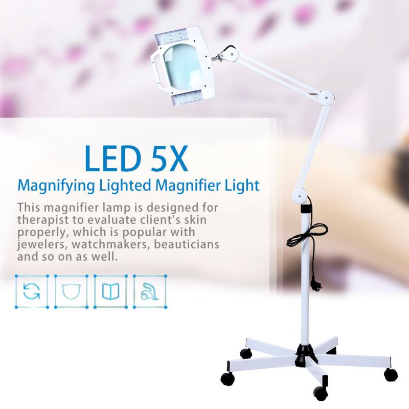 online retailer e65e2 2838a US $122.99 25% OFF|LED 5X Magnifying Floor Lamp Lighted Magnifier Light  Stand Magnifier Tattoo Body Makeup Lamp Beauty Magnifying Lamp-in Tattoo ...