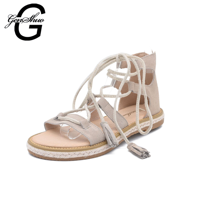GENSHUO 2018 Hot Sexy Women Shoes Cross Strap Roman Leather Flats Sandals Beige Stripes OpenToe Tassels Sandals