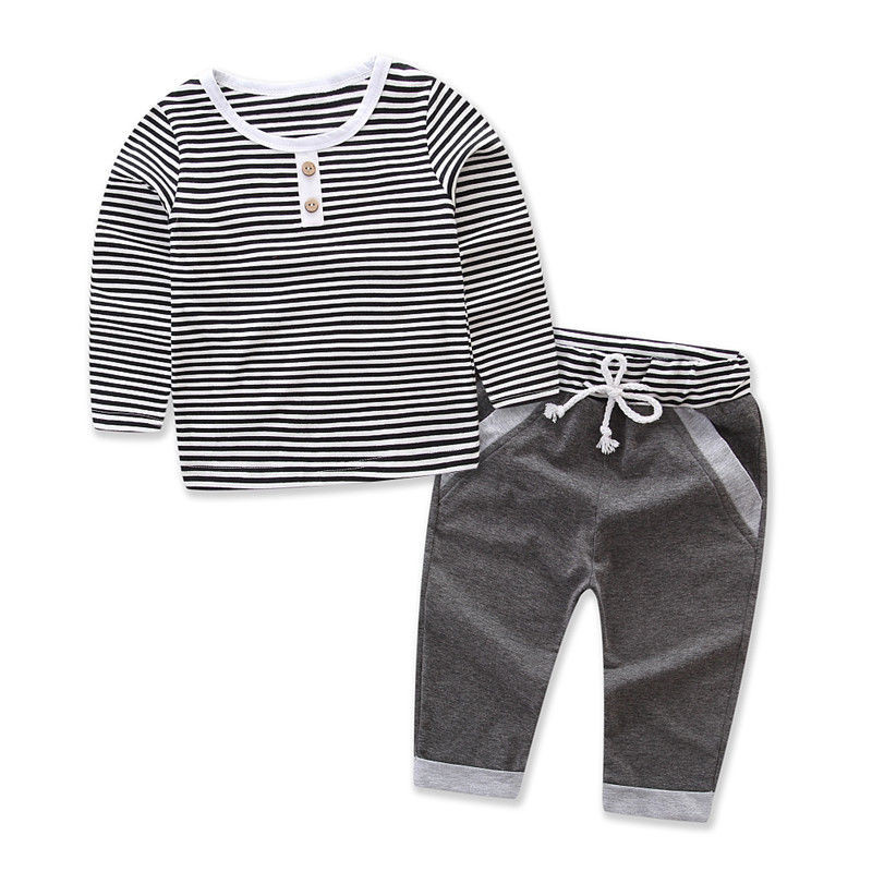 cute Newborn Kids Baby Boys Clothing Long Sleeve Casual T-shirt Tops Grey Long Pants 2PCS Set Outfits Clothes Stripe Styles 1-5T
