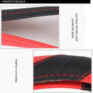 Image 5 - אוניברסלי 38 cm כיסוי גלגל הגה ספורט סגנון מלאכותי עור צמת על היגוי גלגל הגנה על פנים רכב