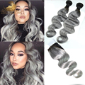 7A Brazilian Body Wave 1B/Gray Grey Human Hair With Closure Silver 1B/Grey Ombre Hair Extensions With Closure 1b/Silver Grey