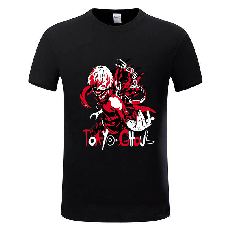 Men's Japanese Anime Tokyo Ghoul Printed Cotton T shirt Unisex Manga Ken Kaneki Balck T-shirt Men Comic Funny Clothing