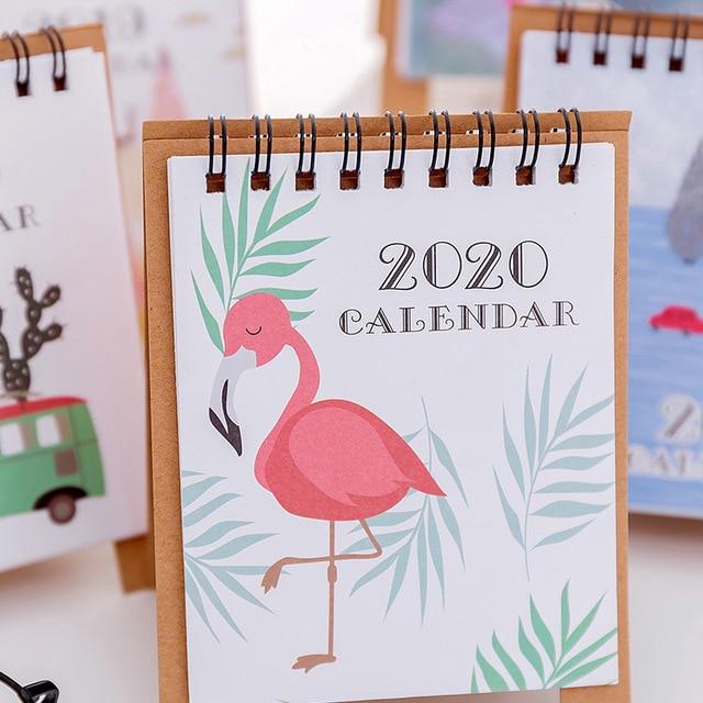 Hand Drawing 2020 Fresh Cartoon Mini Flamingo Desktop Paper Calendar dual Daily Scheduler Table Planner Yearly Agenda Organizer 2