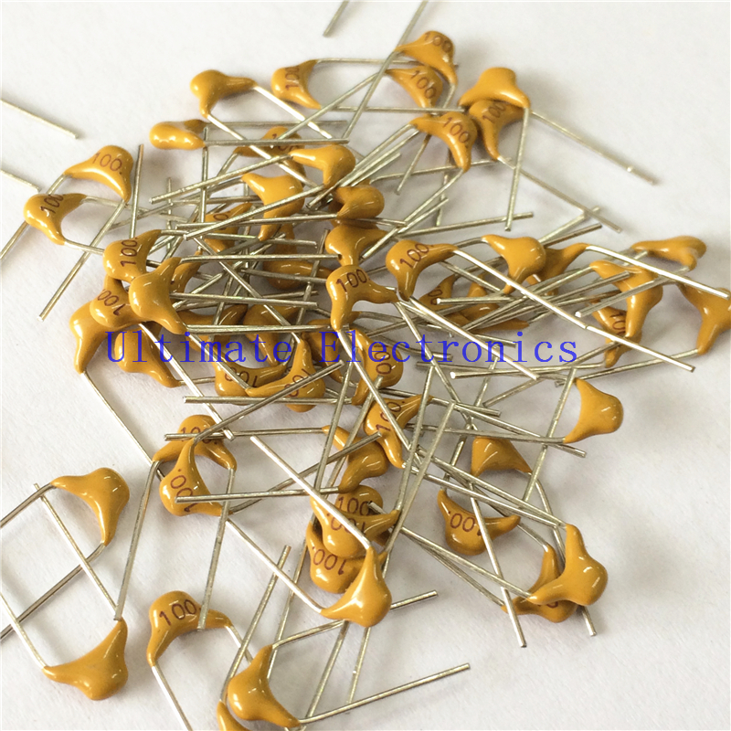 100pcs/lot Multilayer ceramic <font><b>capacitor</b></font> <font><b>100</b></font> 50V 10pF 100K P=5.08mm image