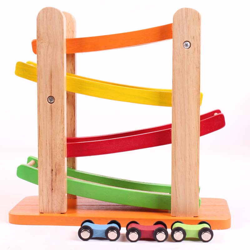 цена на 1 Piece Educational Wooden Toy Baby Kids 3D Toys Building Blocks Wooden Track Racing Car Blocks Kids Intelligence Baby Toys/Gift