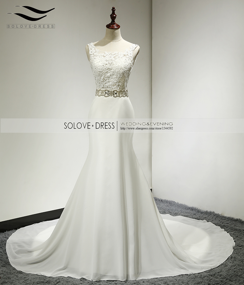 Solovedress A Line Elegant Appliques Beaded Beach Wedding Dress Royal Train Scoop Neck Wedding Gown vestido