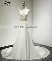 Solovedress A Line Elegant Appliques Beaded Beach Wedding Dress Royal Train Scoop Neck Wedding Gown vestido de noiva SL229