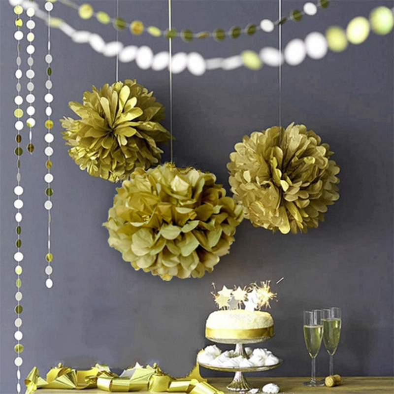 9Pcs Tissue Paper Pom poms Flower Balls Wedding Party Hanging Garland Fluffy Pom