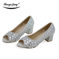4cm Block Heel Summer New Arrival Peep Toe Wedding Shoes Bride Party Dress Shoes Silver Crystal