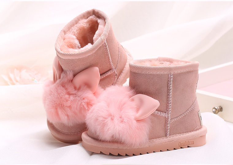 e7e384b27c2a5 Princess girls rabbit shoes snow boots for girls winter shoes with natural  fur kids genuine leather boots ankle boots for girls-in Boots from Mother    Kids ...