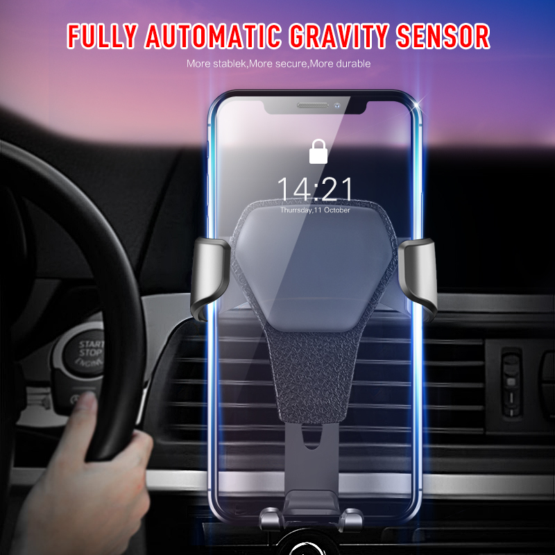 Hot Auto Car Holder Mini Air Vent Mount Gravity Phone Mobile Holder Universal for IPhone X 8 Car Holder Stand steering wheel phone holder