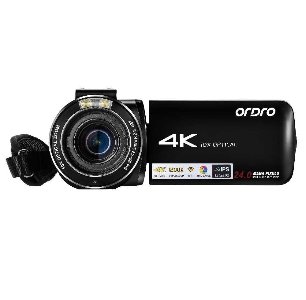 Ordro AC7 в формате 4 K UHD, цифровые видеокамеры FHD 24MP 120X цифровой зум 10X оптический Wi-Fi ips Сенсорный экран DV мини камеры-регистраторы