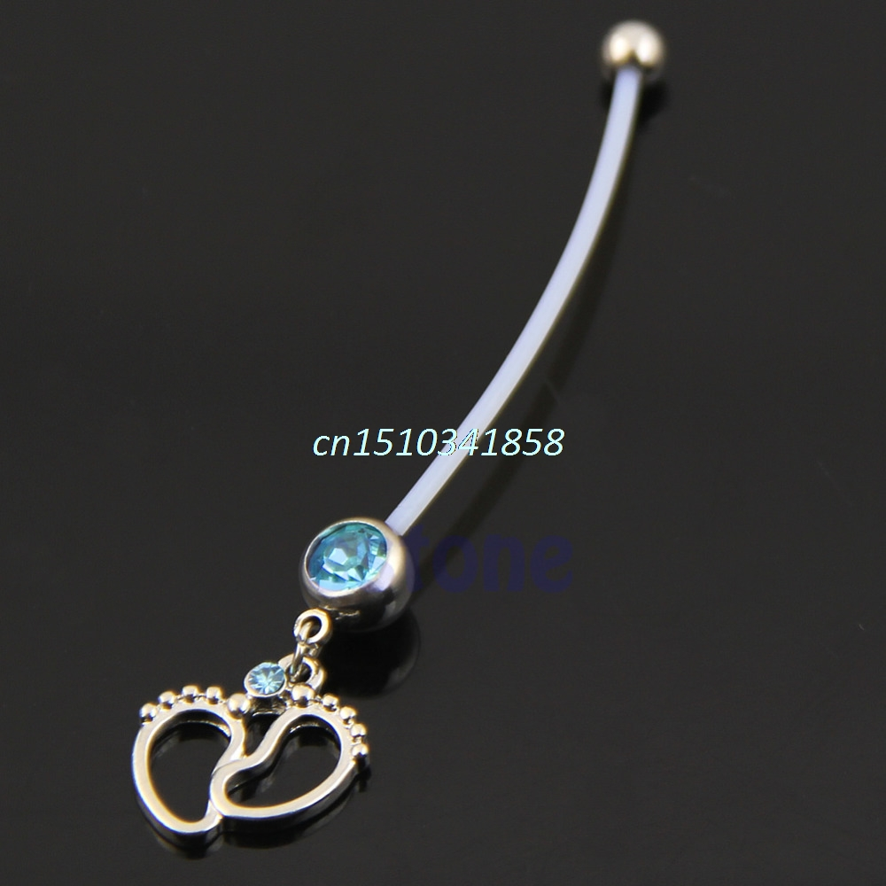 NTTHNCF Flexible Dangle Long Soft Baby Feet Bar Piercing Navel Button Belly Ring #Y51#NTTHNCF Flexible Dangle Long Soft Baby Feet Bar Piercing Navel Button Belly Ring #Y51#