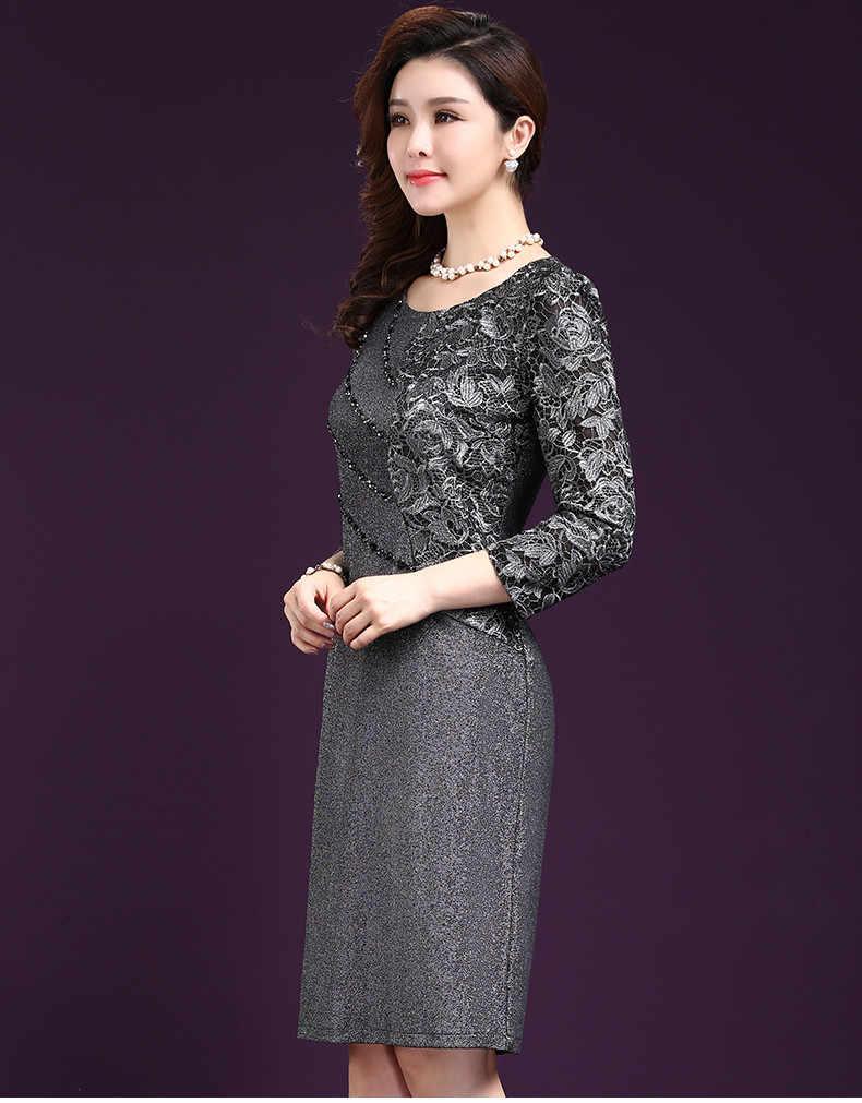 6adc1d73d2158 ... Women Sexy Dress 2019 autumn Elegant Women Winter 3/4 Sleeve Knee  Length Vintage Ol ...